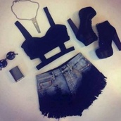 shirt,shorts,shoes,jewels,tank top,sunglasses,skirt,black crop top,black high heels,gold jewelry,necklace,high waisted denim shorts,swimwear,bikini,bh,underwear,black,cage,summer,heels,high heels,dip dyed,tie dye,t-shirt,black top,top,corset,summer outfits,elegant,style,girly,jewelry,blouse,weheartit,black shorts,cut-out,plateau boots,cross necklace,bralet top,bag,paul's boutique,mini bag,studded bag