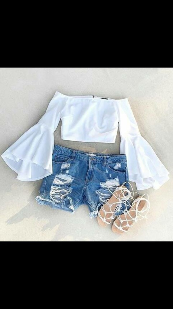 shirt bell sleeves off the shoulder top white crop tops