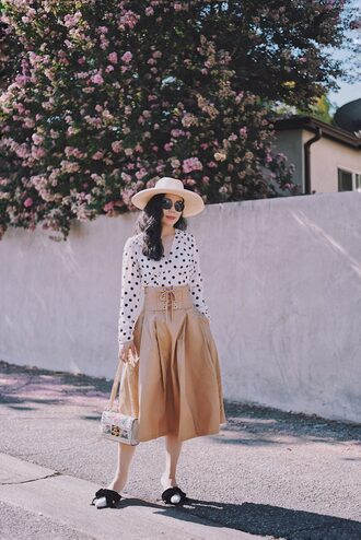 hallie daily blogger top skirt shoes bag hat sunglasses midi skirt sun hat summer outfits polka dots manolo blahnik pumps