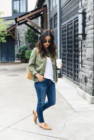 jacket tumblr green jacket t-shirt white t-shirt denim jeans blue jeans mules