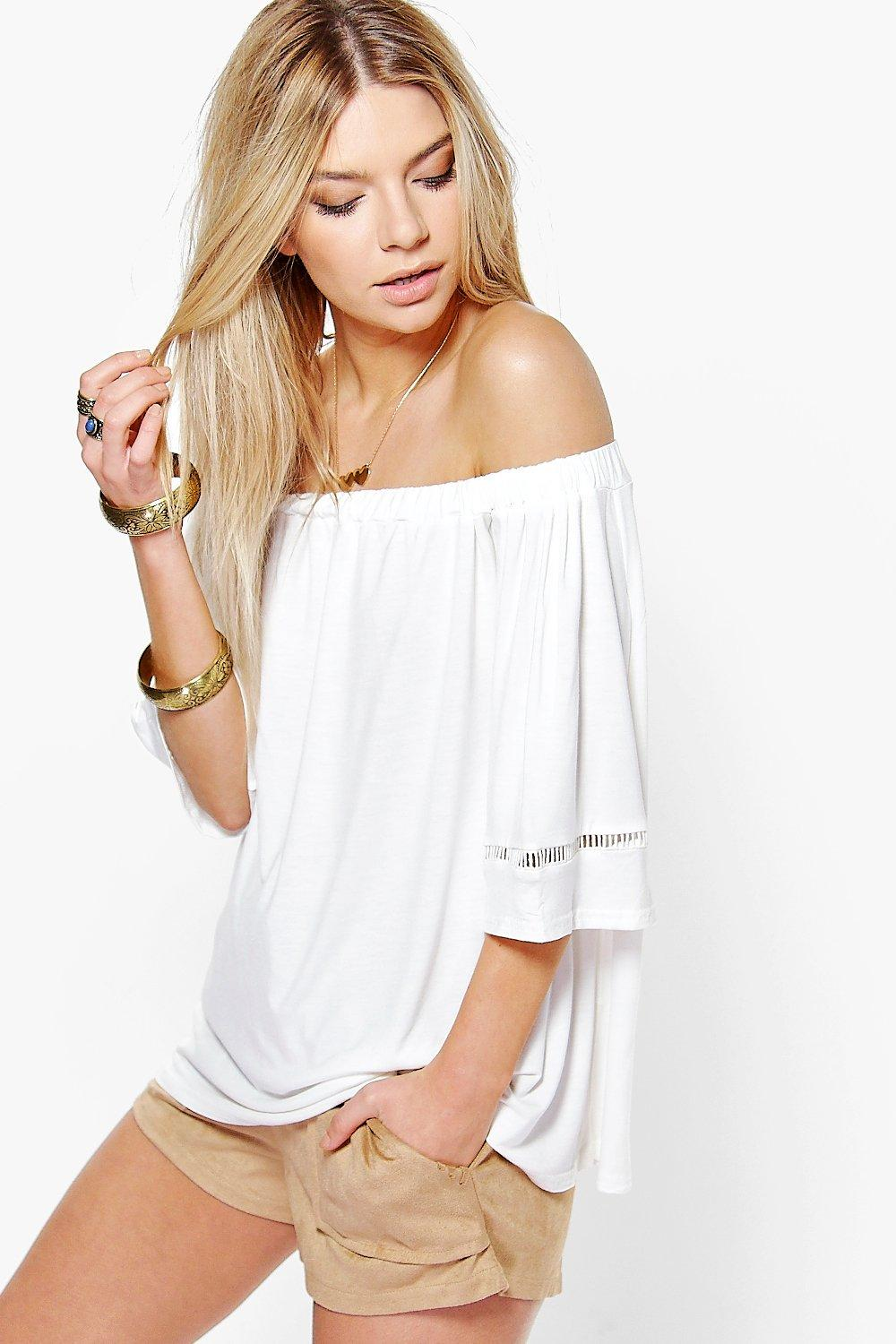 Megan Ladder Trim Bardot Top