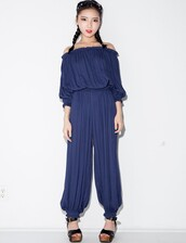 jumpsuit,pixie market,pixie market girl,off the shoulder top,gaucho pants,matching set,affordable clothing,matching separates