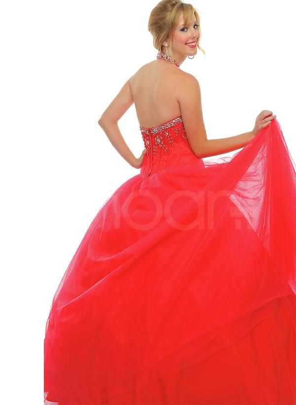 dress rhinestones halter neck