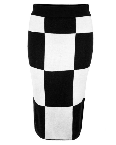 Skirt: midi skirt, checkered skirt, black and white, black and ...