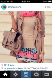 scarf,tan,kinda tribe,neon pink,skirt