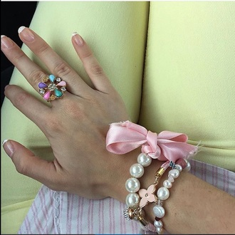 jewels pink baby pink pastel pink bows pearl tous yellow pastel candy cute
