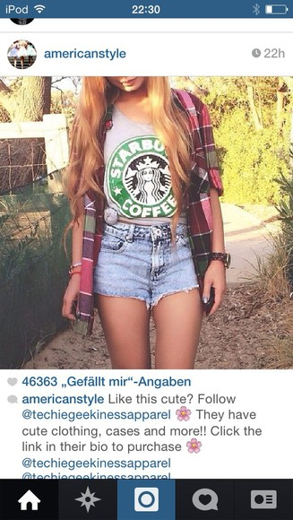 shirt shorts t-shirt oversized starbucks starbucks coffee blouse