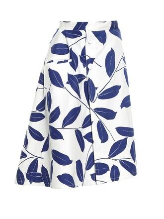skirt midi skirt midi print white blue