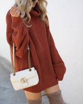 dress,tumblr,rust,sweater dress,knit,knitted dress,bag,white bag,gucci,gucci bag,turtleneck,turtleneck dress