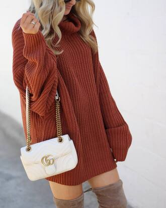 dress tumblr rust sweater dress knit knitted dress bag white bag gucci gucci bag turtleneck turtleneck dress