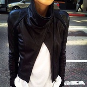 jacket,hot,black leather jacket,leather jacket,leather,black,fashion,ribbed,detail,coat,black leather biker jacket,turtleneck,draped,button,stripes,cute,perfecto,pretty,white,city,biker jacket,v?tement: veste,cuir,clothes,beautiful,girl,vogue,like,brand,lether,lether jacket black