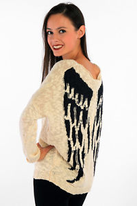 Laetitia mem loose knitted angel wings design winter jumper cream