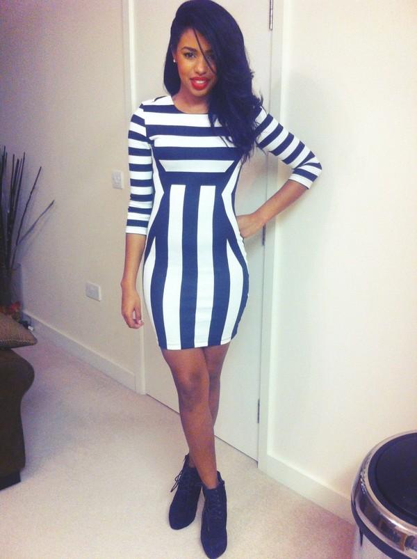 dress stripes bodycon pretty girly
