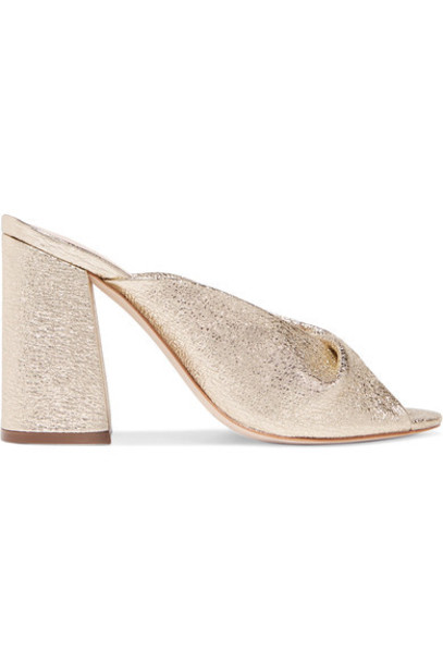 Loeffler Randall metallic mules gold leather shoes