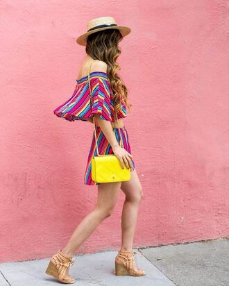 top hat tumblr off the shoulder off the shoulder top crop tops stripes striped top bag yellow yellow bag shorts sandals wedges wedge sandals sun hat shoes