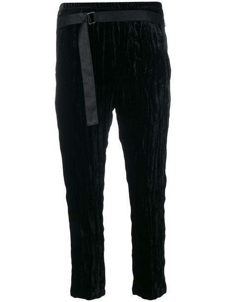 women crushed velvet cotton black silk velvet pants
