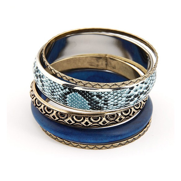 Blue & Snake Print Eclectic Bangle Pack at Style Moi