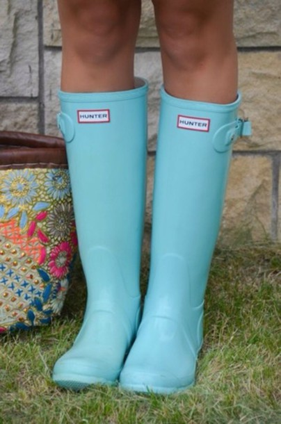 shoes baby blue hunter boots