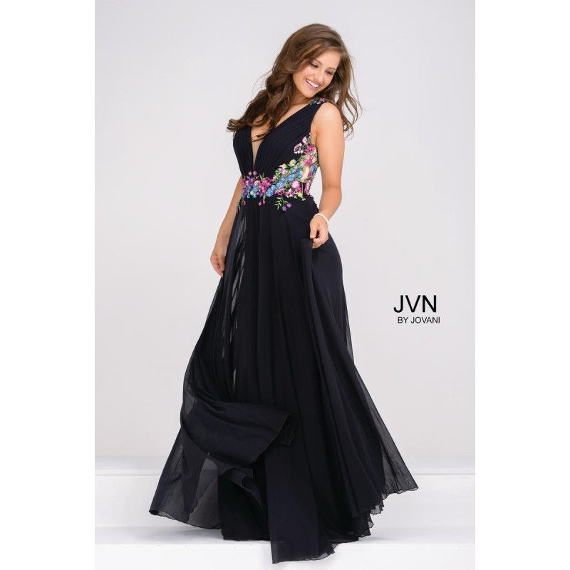 JVN47785 Floral Bodice Prom Gown - Brand Prom Dresses|Beaded Evening Dresses|Charming Party Dresses
