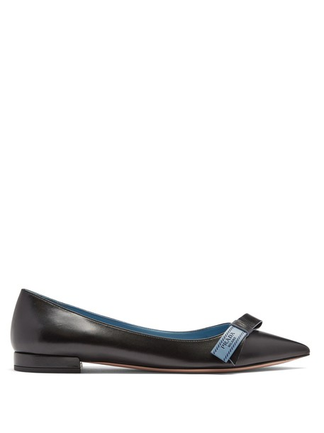 Prada bow embellished flats leather flats leather black shoes