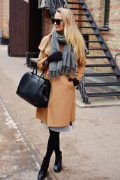 callmemaddie,blogger,coat,dress,shoes,bag,sunglasses,scarf,jewels,tumblr,camel,camel coat,grey dress,grey,grey scarf,gloves,knitted gloves,black bag,midi dress