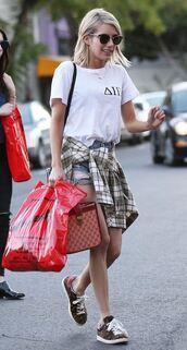 emma roberts,sneakers,top,shoes,sunglasses,shirt