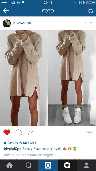 sweater winter outfits beige oversized long brown oversized sweater