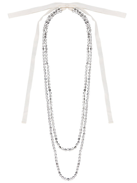 ANN DEMEULEMEESTER long women beaded necklace white cotton jewels