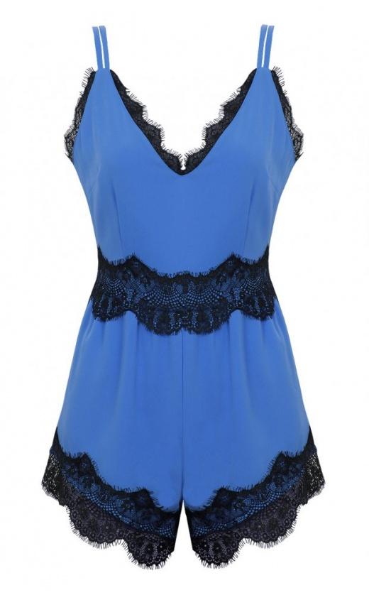 Eva Eyelash Lace Playsuit In Blue - from The Fashion Bible UK