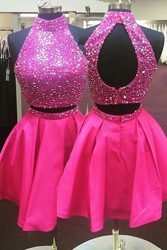 dress pink sparkle glitter homecoming short two piece dress set hot pink party dress two piece prom dresses two pieces prom dress crop tops 2 piece skirt set 2 piece prom dress 2 piece dress set 2016 prom dresses short homecoming dress homecoming dress homecoming dresses 2016 2016 homecoming dresses cocktail dress short party dresses
