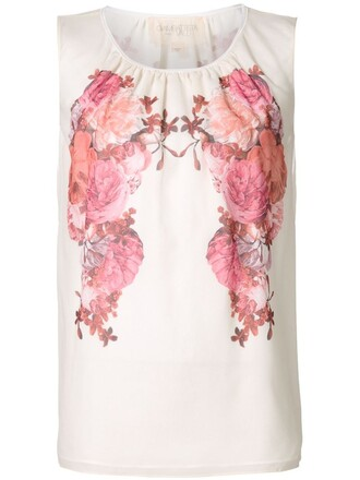 blouse sleeveless floral white top