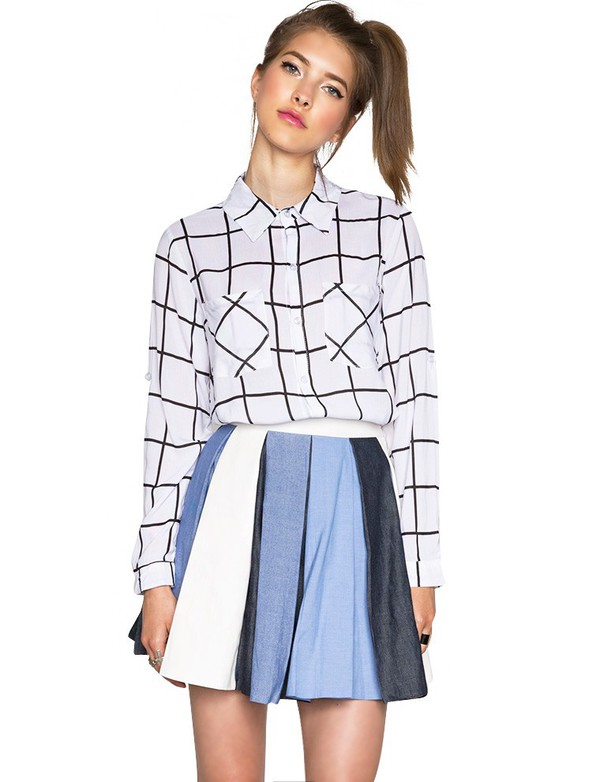 Black And White Shirt - Womens Cute Tops - Grid Shirts - $48
