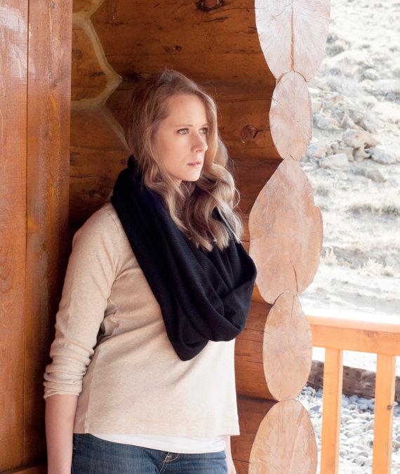 Black hooded cowl scarf, infinity cowl shrug, black oversized shawl wrap scarf, circle scarf, extra large scarf