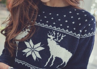 sweater deer black friday cyber monday blue christmas sweater snow home decor sweatshirt scandinavian long hair brunette girly girl blue sweater winter outfits coldweather snowflake hot chocolate christmas cardigan beautiful sexy hot norway holiday season