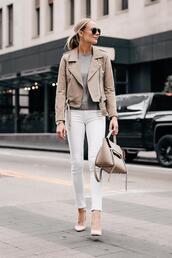 fashionjackson,blogger,jacket,sweater,jeans,shoes,bag,sunglasses,fall outfits,beige jacket,pumps,handbag