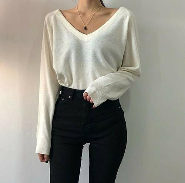 sweater white white sweater warm cute