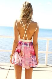dress,beach,summer,cruise,ocean,openback,open back dresses,ombre,purple,midi dress,bodycon