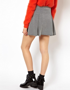 ASOS | ASOS Box Pleat Skater Skirt In Spot Texture at ASOS