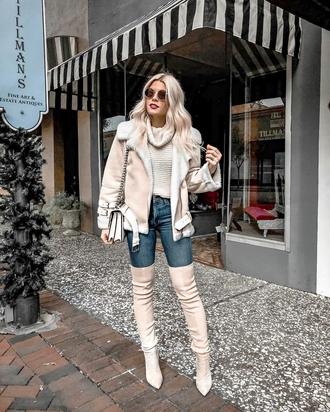 jacket tumblr nude jacket shearling jacket shearling sweater knit knitwear knitted sweater turtleneck turtleneck sweater boots nude boots over the knee boots over the knee denim jeans blue jeans sunglasses