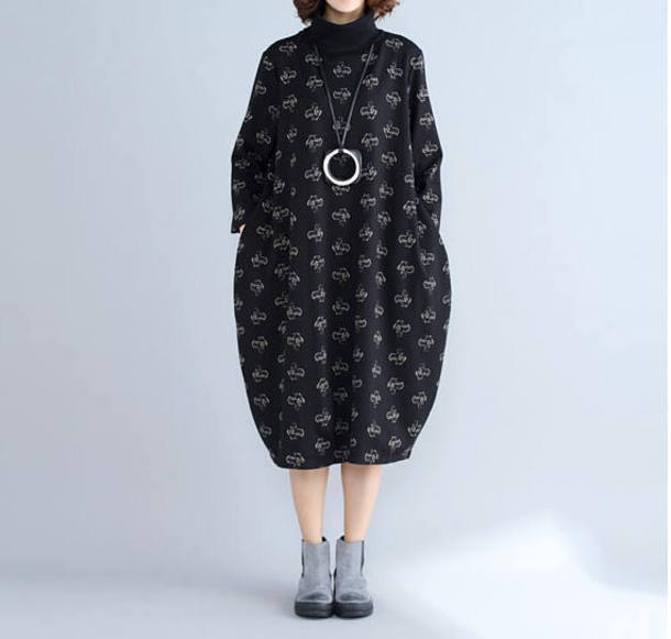 dress printed lantern dress black dress