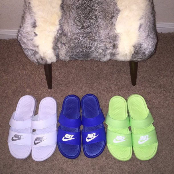 1df796d36 shoes blue white neon green cute nike nike shoes nike slides slide shoes sandals  slide shoes