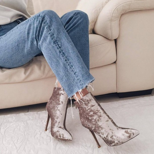 4488963368f shoes tumblr velvet velvet shoes velvet boots nude boots ankle boots high  heel pumps denim jeans