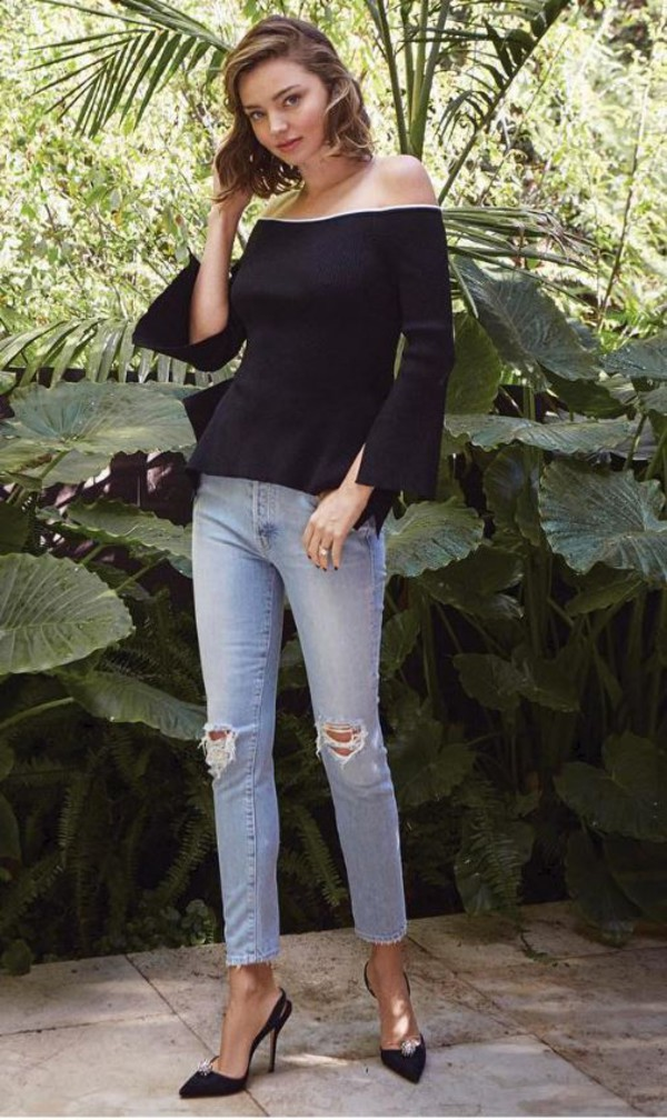 blouse top jeans pumps miranda kerr model off-duty off the shoulder off the shoulder top