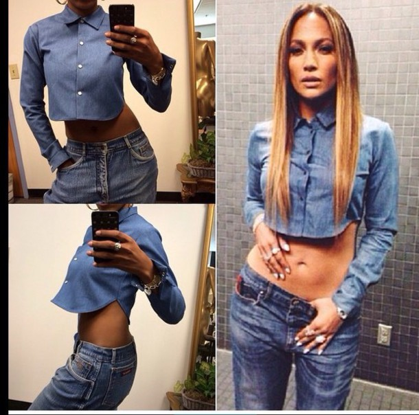 shirt denim jacket denim jennifer lopez crop tops style