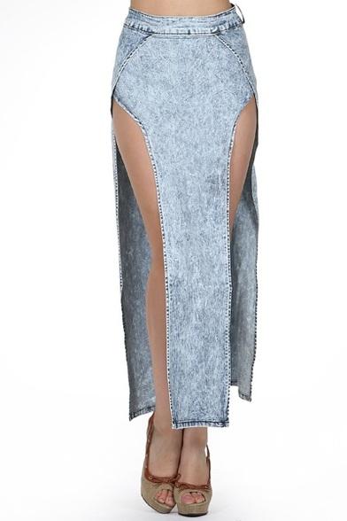 Slit Side Denim Skirt in Acid Wash Blue