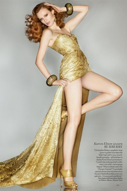 dress gold gown burberry