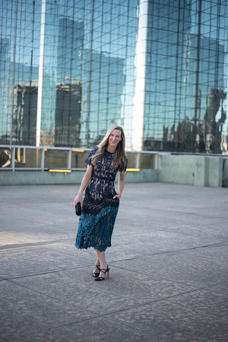celebritystyleguide blogger dress shoes bag jewels high heel sandals sandals green dress midi dress lace dress clutch