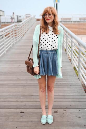 steffy's pros and cons blogger bag skater skirt mint polka dots satchel bag leather bag