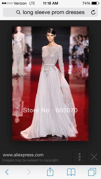 dress red carpet silver backless long sleeve dress backless prom dress