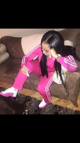 jumpsuit adidas hot pink stripes jordan's matching set all pink everything all pink outfit